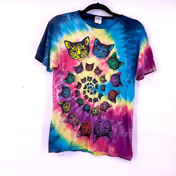 Vintage cats tie dye t shirt size small